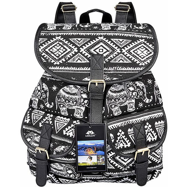 Retro Elephant Canvas Leather Backpack