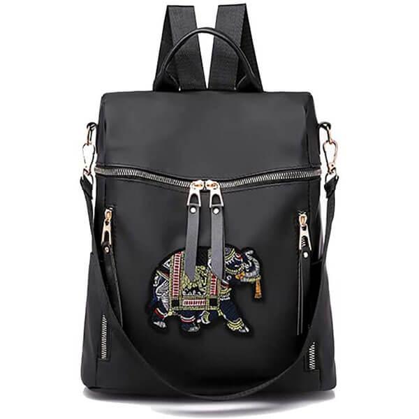 Black Shoulder Bag with Elephant Embroidery