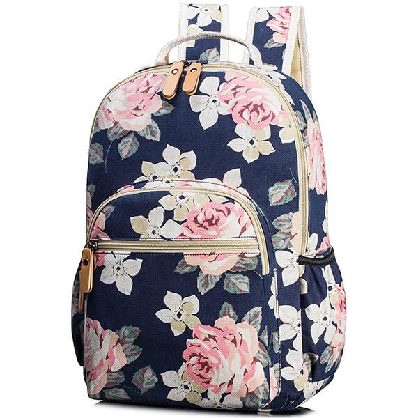 Cute Canvas Satchel Travel School Girls Floral Backpack