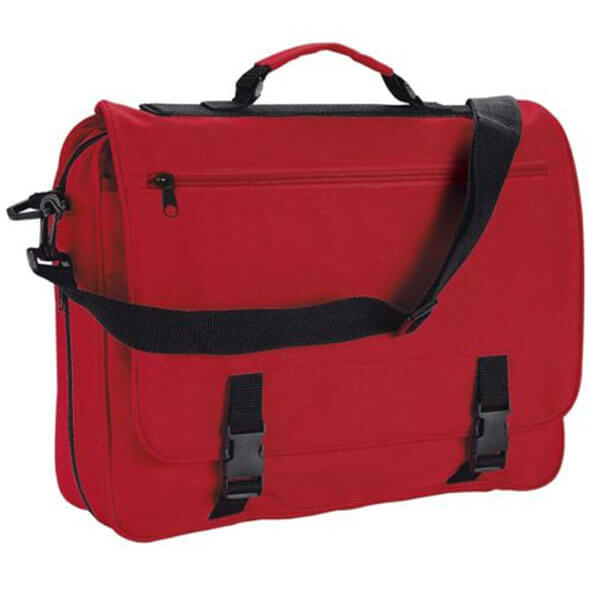 Red Synthetic College Utility Messenger Bag