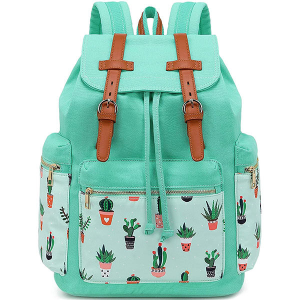 Cactus Canvas Floral Drawstring Backpack