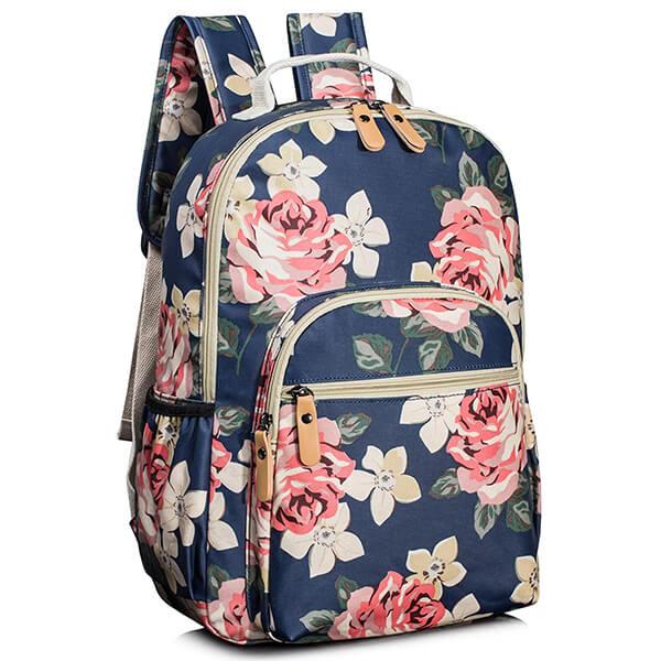 Dark Blue Water-resistant Teenagers Floral Backpack