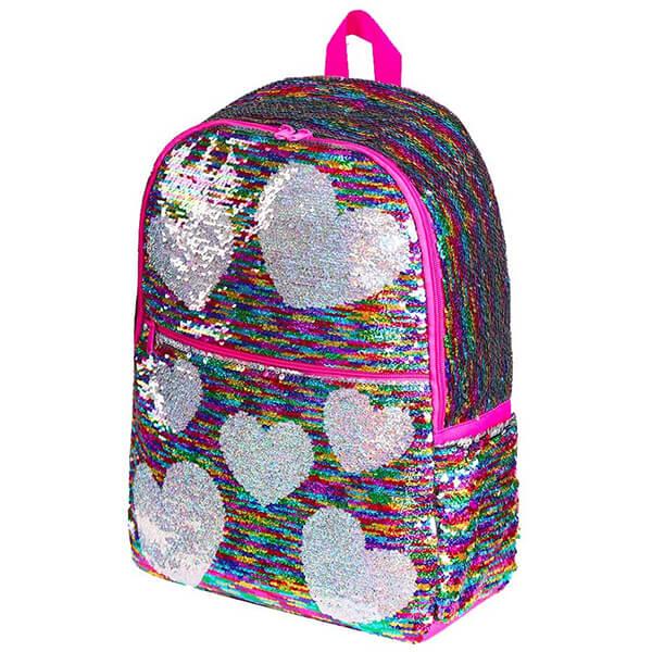 Heart Patterns Flip Sequins Backpack