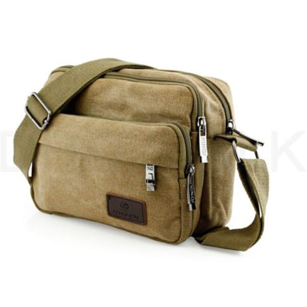 Men's Khaki Colored Messenger Bag