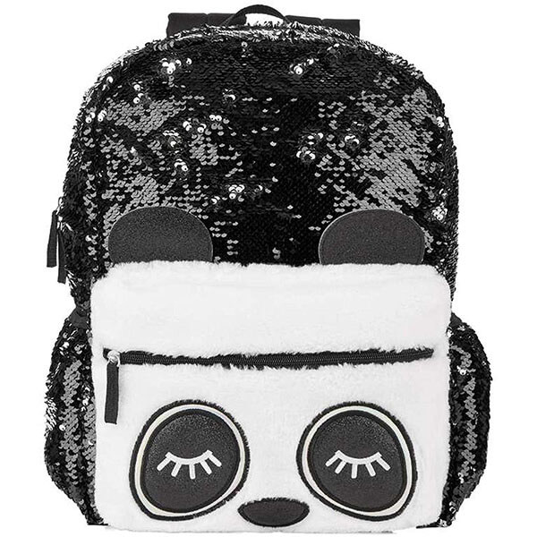 Stylish Silver Sequins Panda Backpack