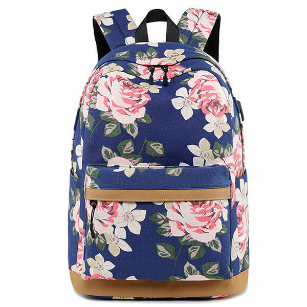 USB Charging Canvas College Girls Flower Backpack