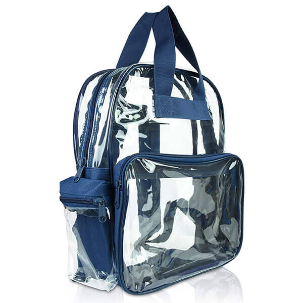 Clear Vinyl and Polyester Navy Backpack
