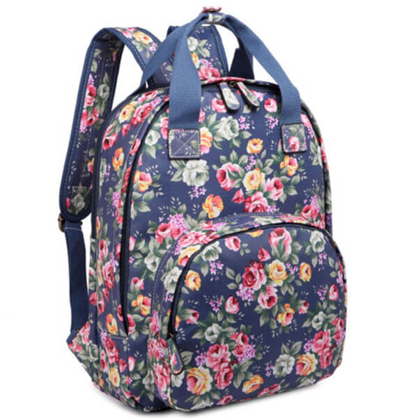 Matt Oilcloth Shower Resistant Ladies Floral Backpack