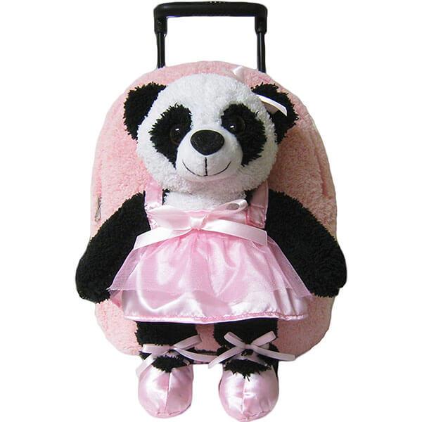 Rolling Adorable Pink Panda Book Bag