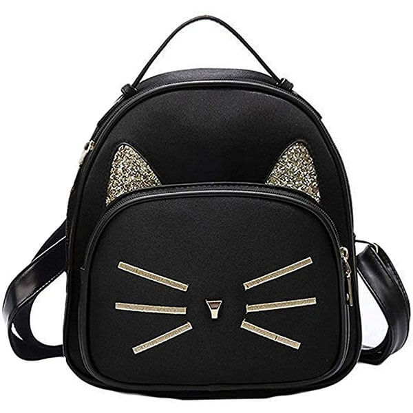 Teen Girls Velvet Kitty Mini Backpack