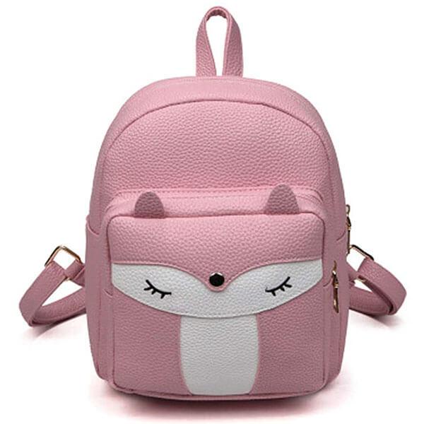 Cute Fox Face Leather Girls Mini Backpack