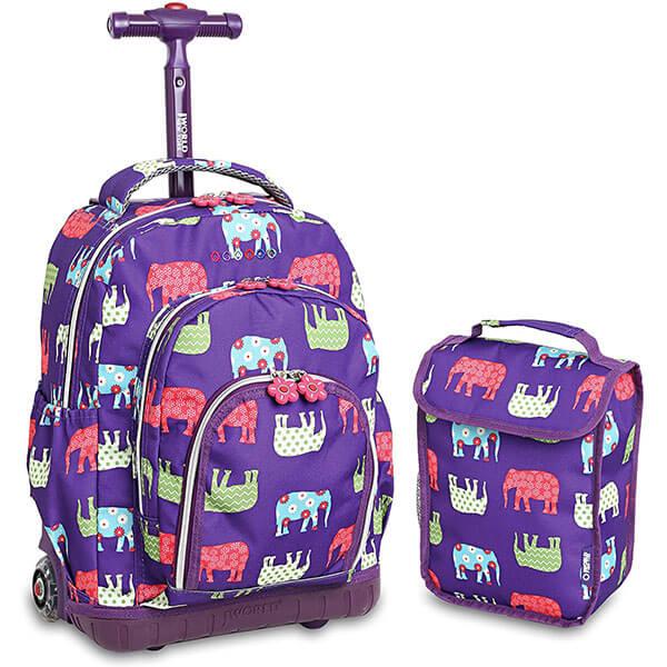 Noiseless Wheel Elephant Trolley Backpack Set