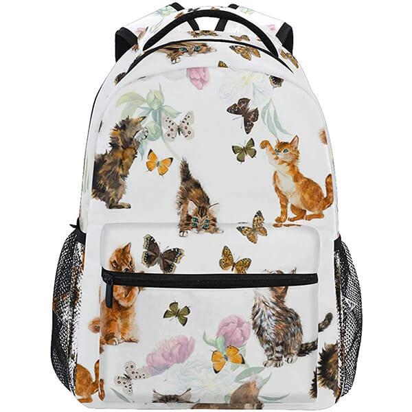 Playful Butterfly Cat School Backpack