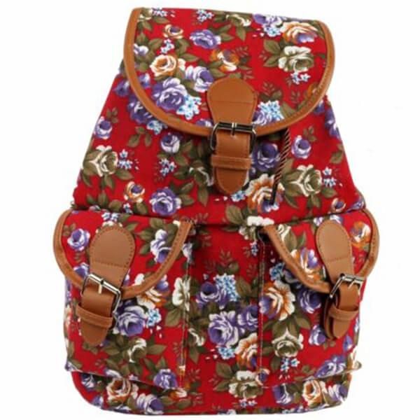 Floral Red Leather Belt Closure Canvas Backpack