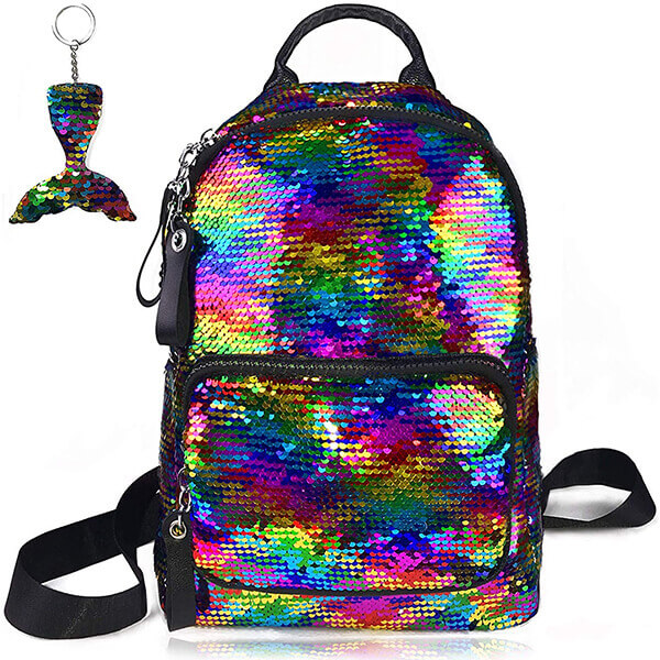 PU leather Teen Girls Sequin Backpack