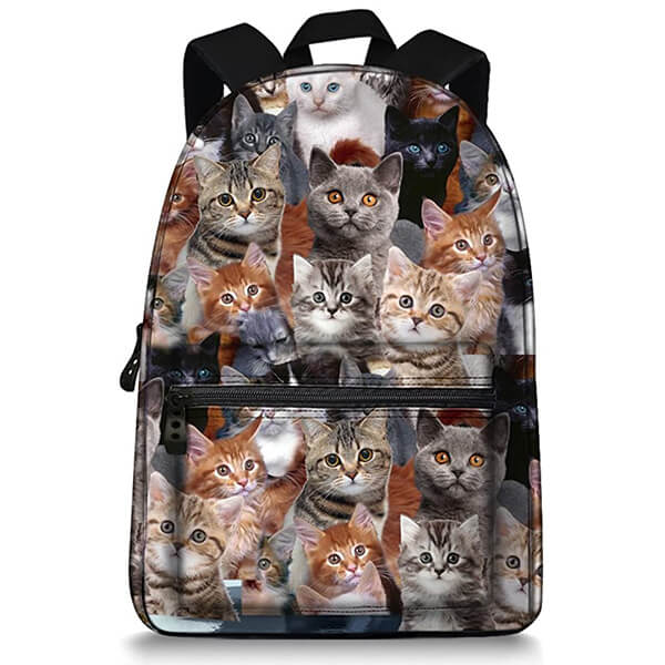 Real Cat Pictures Printed Durable Backpack