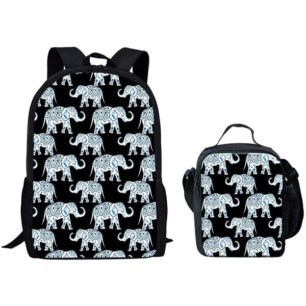 Sponge Polyester Backpack With Lunch Tote