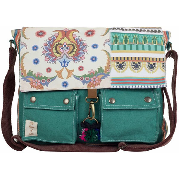 Teal Green Cotton Messenger Bag for Girls