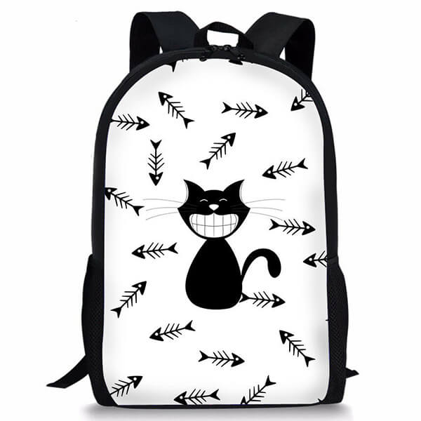 Black Cat with Fish Bones Polyester Backpack