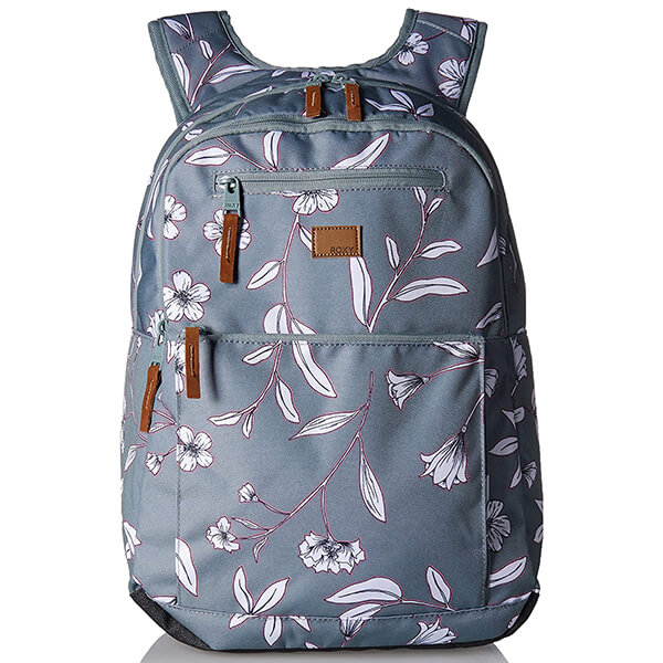 Dark Gray Machine Washable Women's Floral Backpack