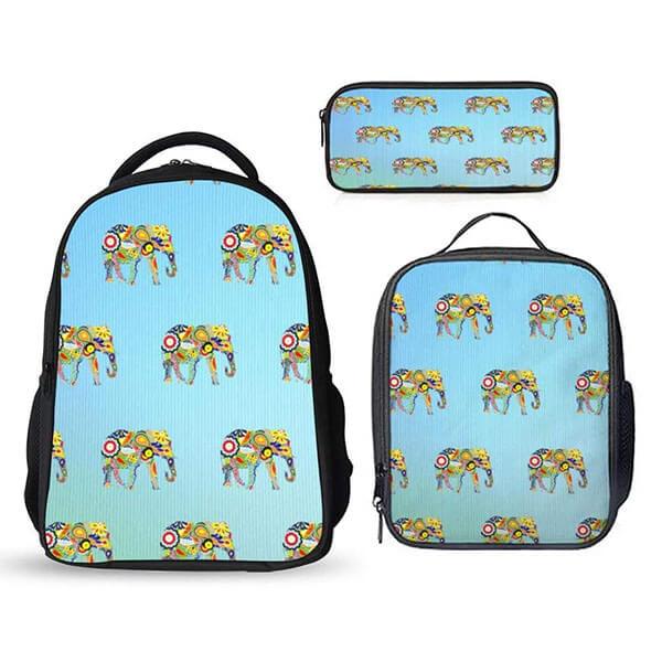 Elephant Print Backpack Set
