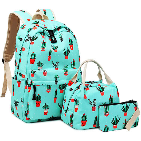 Valley Green Backpack with Lunch Bag and Pencil Case