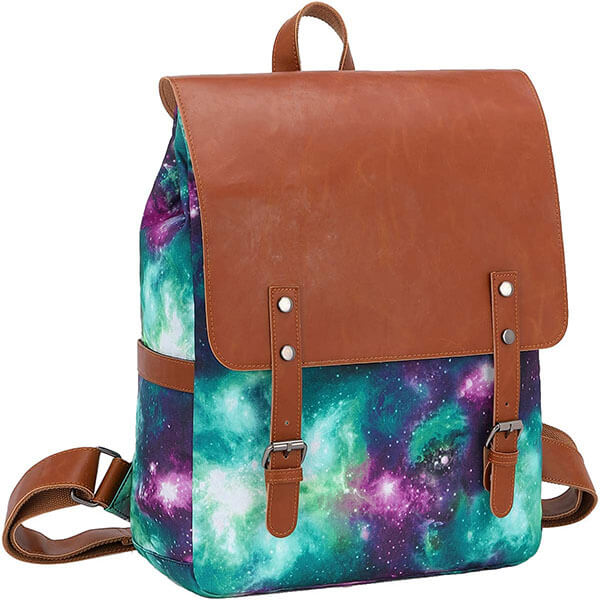 Canvas and Leather Combined Galaxy Bookbag