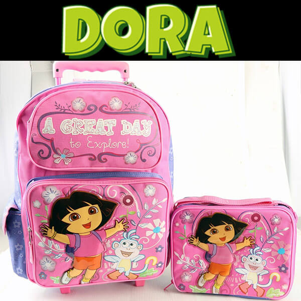 Large Rolling Dora Backpack Set With Lunch Bag