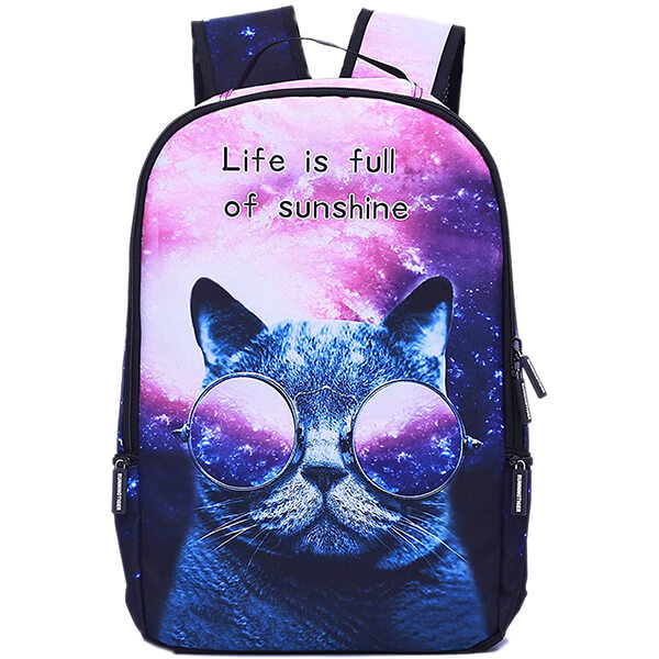 Sunglass Wearing Cool Cat Backpack for School