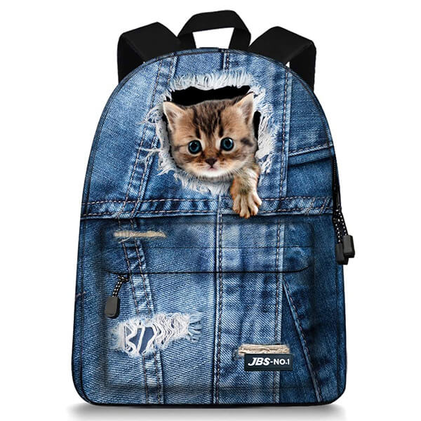 Cute Cat in Jeans Canvas Teens Backpack
