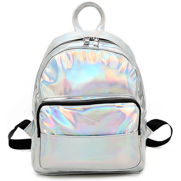Laser Leather Holographic Mini Backpack