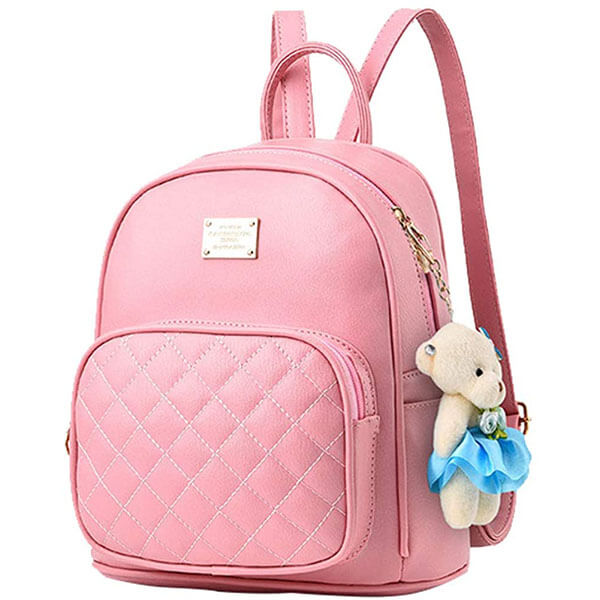 Leather Purse Pink Mini Backpack