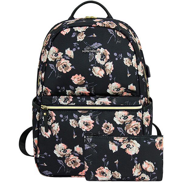 Water Repellent Computer Flower Backpack with USB Charging Port