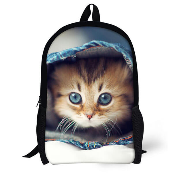 3D Satchel Picnic Bag Cat Backpack for School