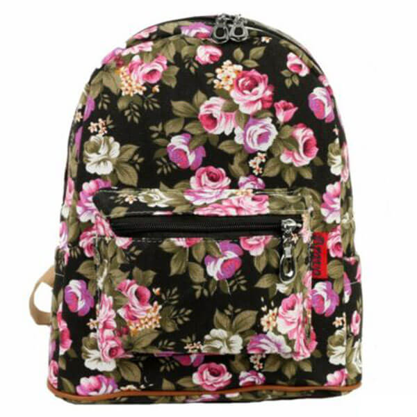Canvas Leisure Backpack with Roses