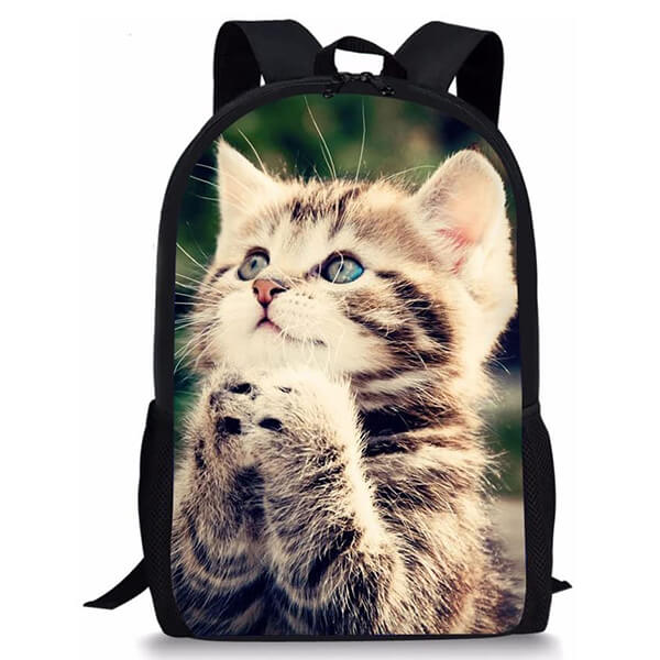 300D Polyester Vivid Cat Printing Backpack