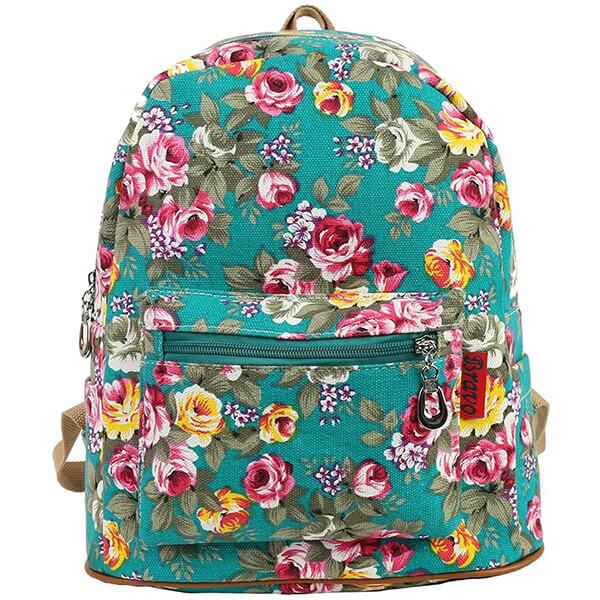 FLORAL BLUE Vintage Canvas Flower Backpack