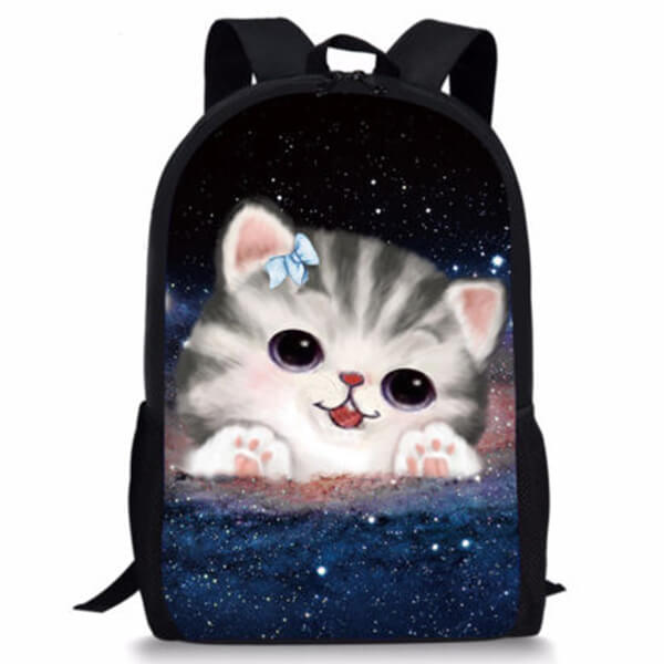 Bowknot Wearing Cat in Galaxy Print Backpack