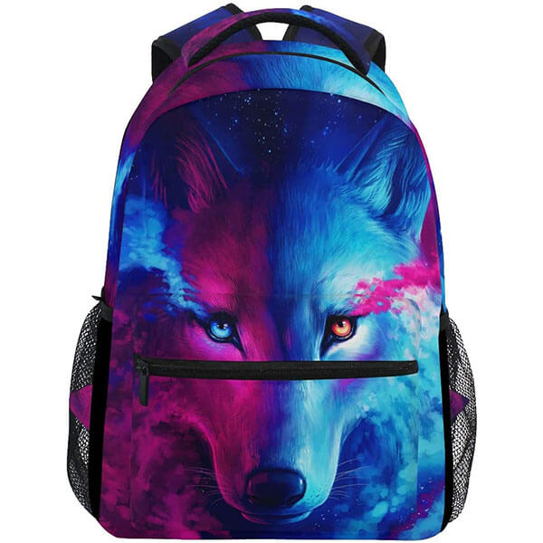 Colorful Wolf Computer Backpack for Outdoors