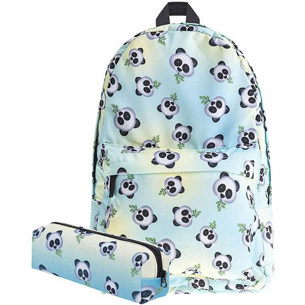 Emoji Laptop Panda Backpack for Adolescents