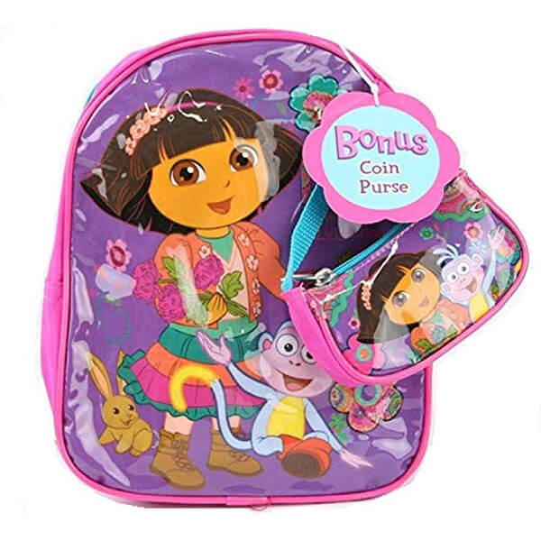 Purple Polyester Dora Backpack With Coin Purse