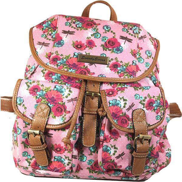 Dragonfly Pink Rose Girls Flower Backpack