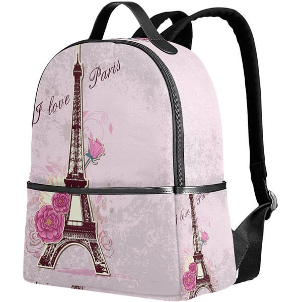 Eiffel Tower Backpack with Roses for Kids
