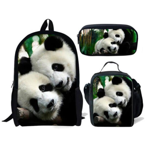 Heavy Duty Panda Bear Book Bag for Youth
