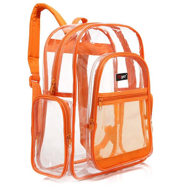 Orange Trim Transparent PVC Backpack