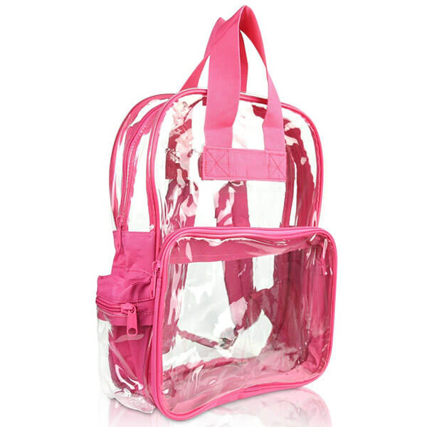 Hot Pink Clear Polyester Backpack