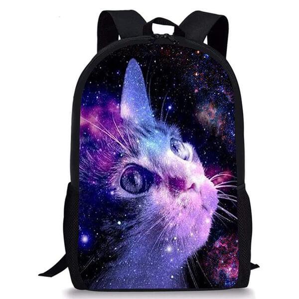 3D Galaxy Lightweight Cat Backpack for School