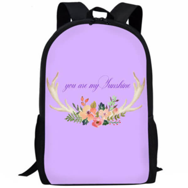 Antler Print Floral Book Bag with Lunch Bag and Pencil Case