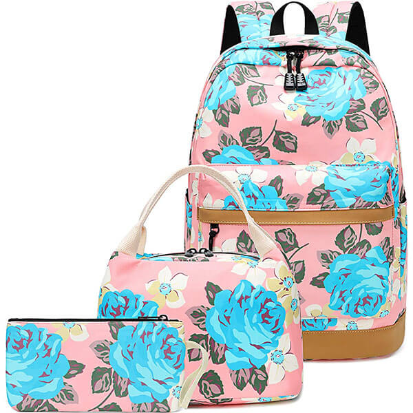 Casual Rose Backpack with Lunch Box