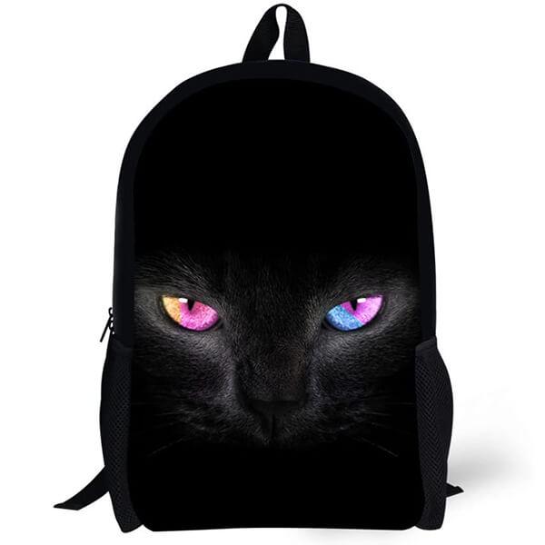 Sparkly Eyes 3D Print Black Cat Backpack
